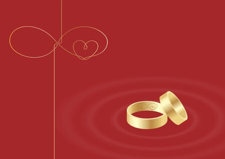 Engraved rings of endless love. Wedding card. Stock vector illustration.