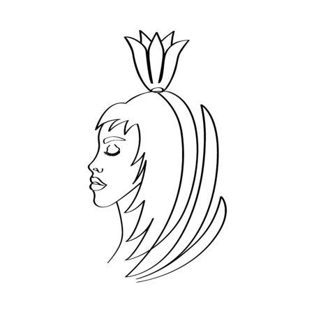 Silhouetted by a girl on whose head a flower in the form of a crown flaunts. Vectores