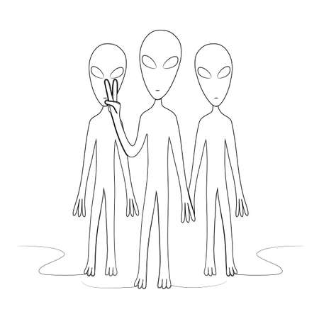 A group of aliens one of which shows the sign of peace. Isolated stock vector illustration.