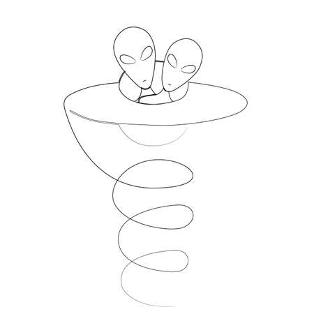 Aliens take off on their ship. Drawn by one continuous line. Isolated stock vector illustration.
