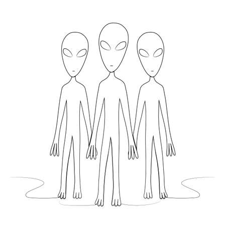 A group of aliens is drawn with one line. Isolated stock vector illustration.
