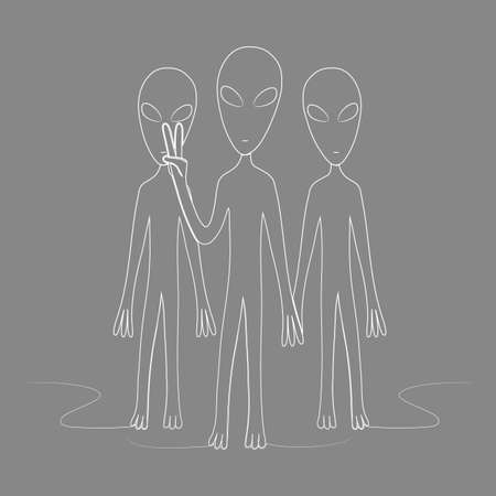 A group of aliens one of which shows the sign of peace. 矢量图像