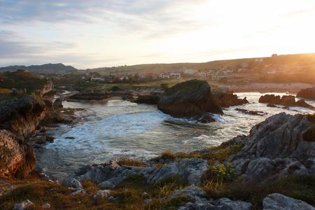 bluff: Ocean bluff sunset Stock Photo