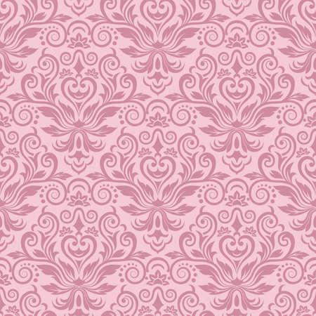 pink wallpaper: Damask seamless pattern for design  Vector Illustration Illustration
