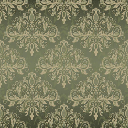 grunge border: Damask seamless pattern for design. Vector Illustration