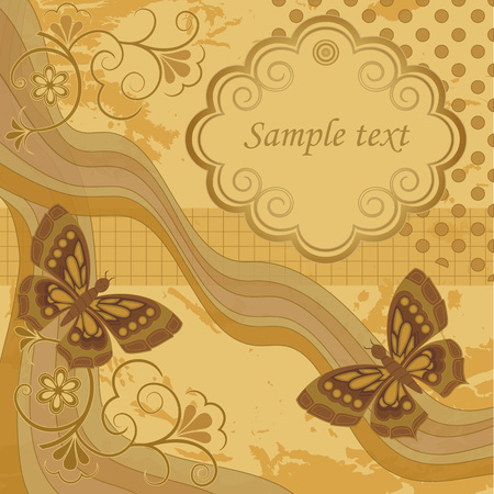 butterfly background: Template frame design for greeting card, vector Illustration