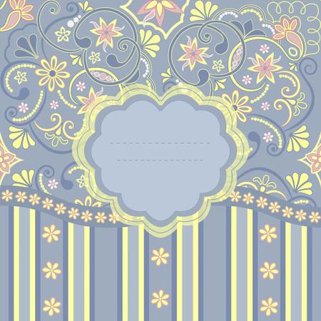postcard: Template frame design for greeting card, vector Illustration
