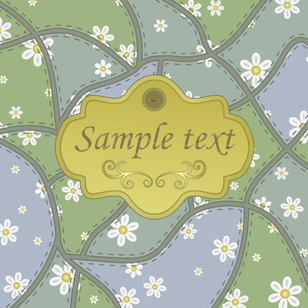 stitchery: Template frame design for greeting card, vector Illustration