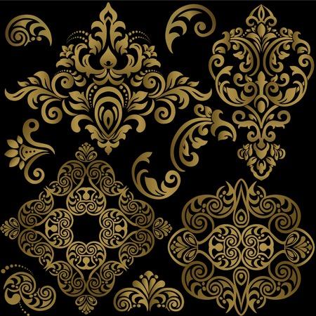 Ensemble de motifs floraux damassés. Illustration vectorielle