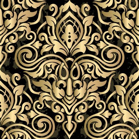 Wallpaper in the style of Baroque. Seamless damask pattern. 일러스트