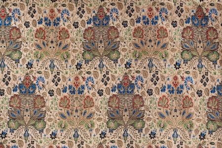 ヴィンテージ中国シルクの花模様のファブリック 写真素材