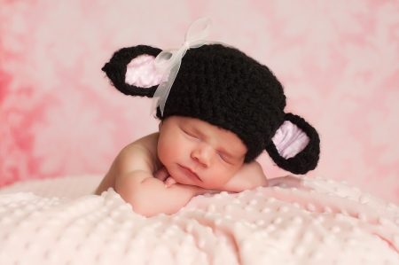 mouton noir: 2 semaines fillette nouveau-n� porte un chapeau noir crochet� mouton noir de dormir sur une couverture rose avec un fond rose Banque d'images