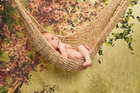 bebes recien nacidos: Un lindo niño de 7 días bebé recién nacido se relaja en una hamaca El conjunto estudio tiene un telón de fondo verde con flores de cerezo