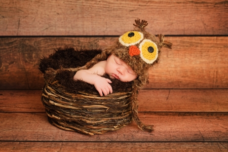 crochet: 1 week old newborn girl wearing a brown owl hat and sleeping in a nest  Stock Photo