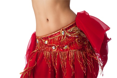 Belly Dancer in a Red Costume Shaking her Hips
