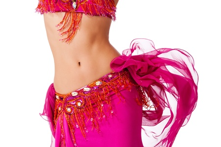 belly dancer: Belly dancer in a hot pink costume shaking her hips