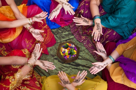congregate: Henna Decorated Hands Arranged in a Circle