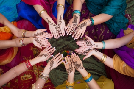 bangles hand: Henna Decorated Hands Arranged in a Circle