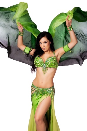 belly dance: Bellydancer Dancing with a Green Silk Veil