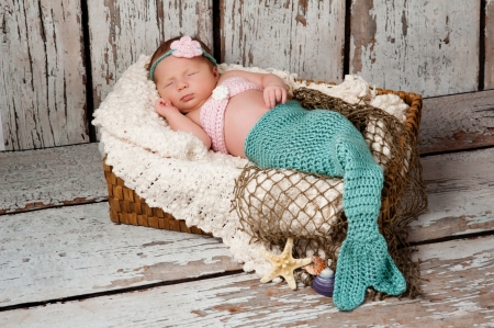 Newborn baby girl wearing a crocheted teal and pink mermaid costume, sleeping in a basket with a bleached wood background  Imagens