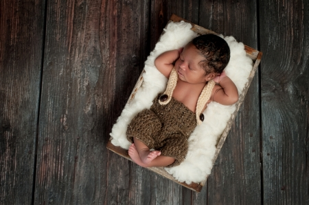 Overhead shot of a 5 day old newborn baby boy wearing crocheted shorts and suspenders. He is sleeping in an old vintage wood crate. Shot in the studio on a rustic, barn wood background.