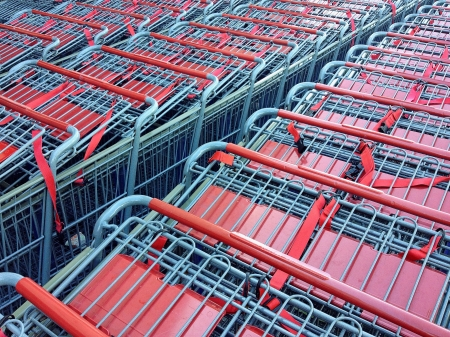 errand: Rows of Stacked Shopping Carts