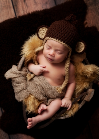 sheepskin: A newborn baby boy wearing a crocheted monkey hat and sleeping in an antique wooden well bucket  Shot in the studio with a sheepskin rug and rustic wood background