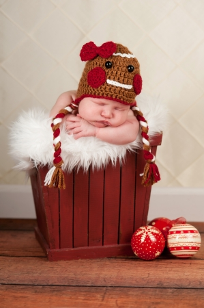 Portrait of a two week old baby girl wearing a crocheted gingerbread girl hat. She is sleeping in a red wooden container. Imagens