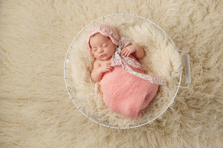 A portrait of a five week old newborn baby girl wearing a pink bonnet and sleeping in a wire basket  Shot from overhead