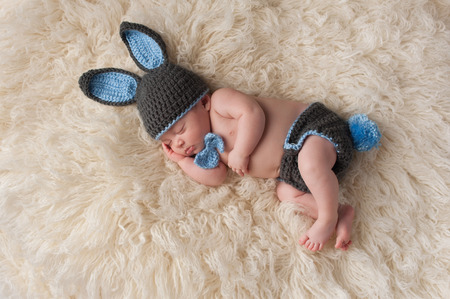 2 month old newborn baby wearing a gray and blue costume with a bunny ear hat, bow tie and bunny tail diaper cover. Shot in the studio on a cream colored flokati rug.