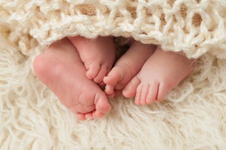 gemelos niÑo y niÑa: Un disparo de cerca de los pies del niño y niña bebés gemelos. Filmada en el estudio sobre una alfombra de piel de oveja.
