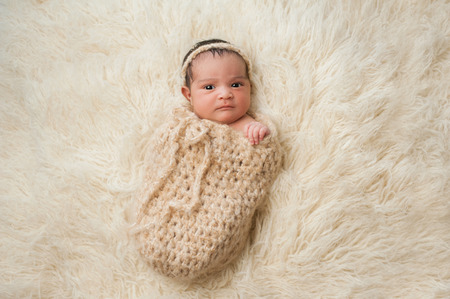 perturbed: An alert 7 day old, Hispanic baby girl with a displeased look on her face  She is wrapped in a crocheted wool pouch and looking at the camera  Shot in the studio on a beige flokati  sheepskin  rug  Stock Photo