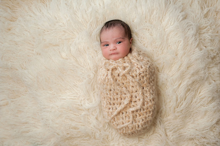 A 7 day old, Hispanic baby wrapped up in a crocheted wool pouch. Shot in the studio on a beige flokati (sheepskin) rug.