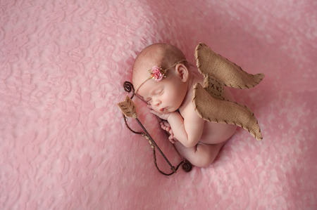 Portrait of 10 day old newborn baby girl. She is wearing a Cupid costume with angel wings, bow and arrow and is sleeping on light pink lace material.