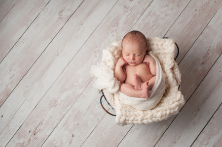 A portrait of a seven day old, newborn baby sleeping in a wire basket on a whitewashed, wooden floor.