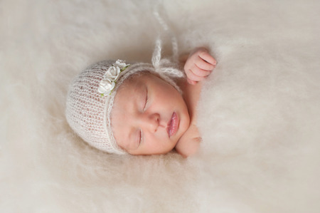 batting: A portrait of a beautiful seven day old newborn baby girl wearing a white, knitted, mohair bonnnet and rose headband. She is sleeping in a bed of cream colored wool batting. Stock Photo