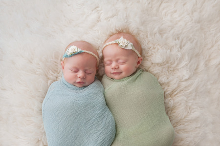 fraternal: Seven week old fraternal, twin baby girls swaddled and sleeping on a white flokati rug. One sister is smiling.