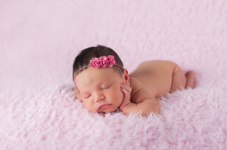 Portrait of nine day old sleeping newborn baby girl. She is wearing a paper rose headband and is lying on a soft, fuzzy, pink blanket. photo