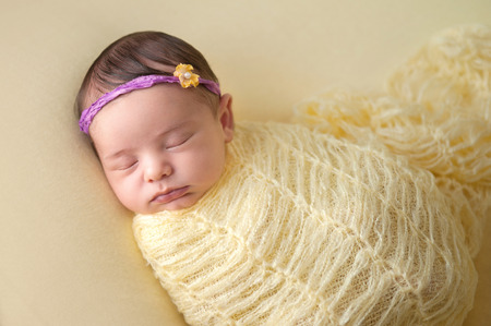 swaddled: A portrait of a beautiful, sleeping, two week old, newborn baby girl wearing a flower headband. She is swaddled with a knitted mohair wrap. Stock Photo