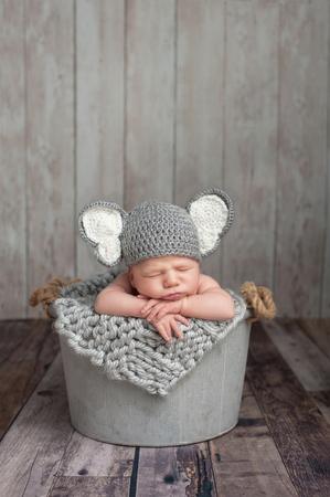 recien nacidos: Tres semanas de edad bebé recién nacido que lleva un sombrero gris del elefante de ganchillo. Él está durmiendo en un cubo de acero galvanizado. Un disparo en el estudio sobre un fondo de madera.