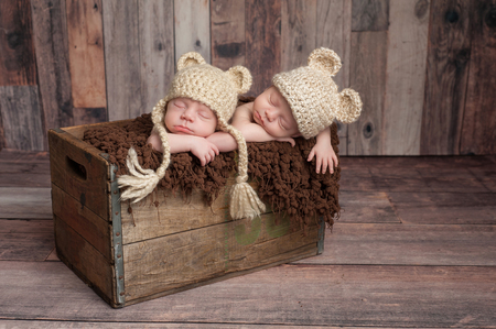 Four week old fraternal, twin, newborn baby boys wearing bear hats and sleeping in a vintage, wooden crate. Shot in the studio on a wood background.