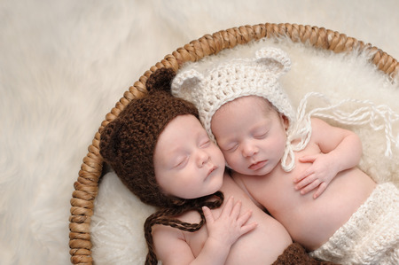 Two month old, boy and girl fraternal twin babies. They are sleeping together in a basket wearing coordinated, crocheted, bear bonnets. Stock Photo