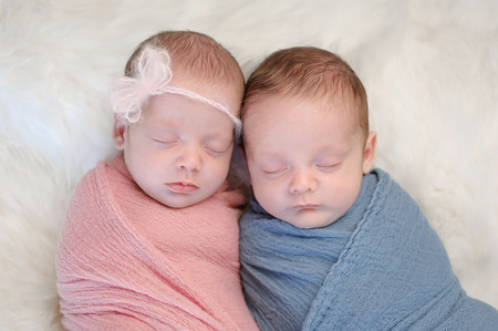 Two month old, fraternal twin, brother and sister babies swaddled in pink and blue wraps and sleeping on a sheepskin rug. Standard-Bild