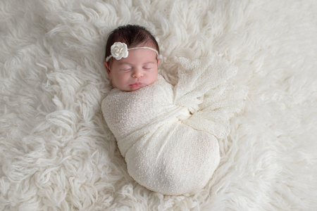 Sleeping, ten day old newborn baby girl swaddled in a white wrap. Shot in the studio on a white sheepskin rug. Imagens