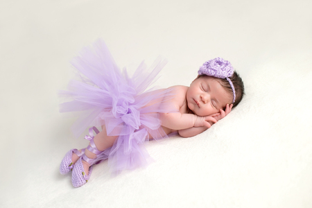 Sleeping, newborn baby girl wearing a lavender colored, crocheted, flower headband, ballet slippers and light purple, tulle tutu. Imagens