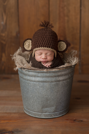 One week old newborn baby boy wearing a brown, crocheted monkey hat. He is sleeping in a galvanized steel bucket. Shot in the studio on a wood background. Imagens