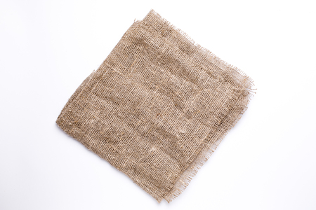 Natural Fabric linen texture background top view isolated