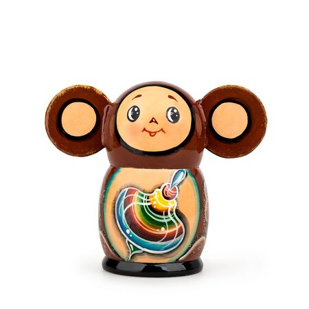 Childrens toy Cheburashka wood matryoshka on a white background