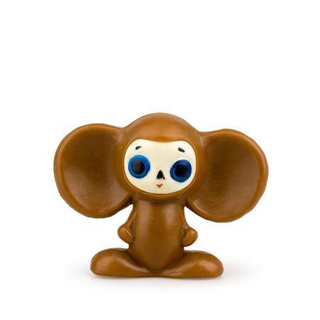 Children's toy Cheburashka on a white background isolated