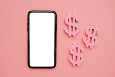 Mobile phone and American dollar symbol, money and technology flatlay top view Zdjęcie Seryjne